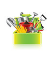 garden tools box isolated vector image