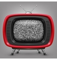 Retro red tv with noise vector image