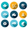 Set of Canada Icons Maple Leaf Hockey vector image