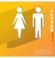 suluet men women Flat modern web button with long vector image
