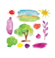 Watercolor nature set for your design vector image