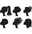silhouette woman hairstyle vector image