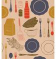 Different tableware food ingredients vector image