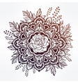 Hand drawn ornate rose flower with leaf crown vector image vector image