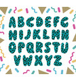 hand drawn green alphabet vector image