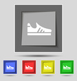 Running shoe icon sign on original five colored vector image