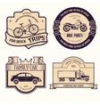 transports set retro label template of emblem vector image