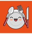 kawaii plate fork spoon knife icon design vector image