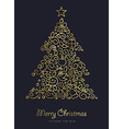 Gold Christmas and new year ornamental pine tree vector image
