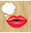 Red Lips With Speech Bubble With Retro Paper vector image vector image