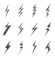 Lightning bolt icons Black flat images on white vector image