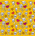 pattern with skulls and hearts bones seamless vector image