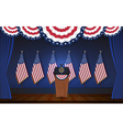 President podium on stage with flagstaff on back vector image