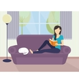 Woman reading a book vector image