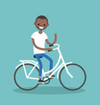 young black man riding a bike and waving his hand vector image