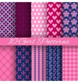 10 Bright girl seamless patterns tiling Pink and vector image
