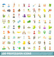 100 profession icons set cartoon style vector image