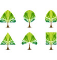 set green tree icon with different crown shape vector image vector image