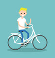 young blond boy riding a bike and waving his hand vector image