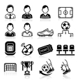 Soccer icons set vector image vector image
