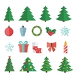 Christmas Flat Icon Set vector image vector image