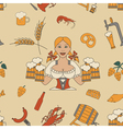 Beer seamless pattern Linear style Octoberfest vector image