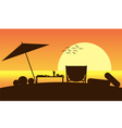 holiday on beach and sunset vector image