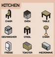 kitchen color outline isometric icons set vector image