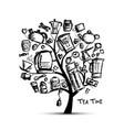 kitchen utensils sketch tree for your design vector image