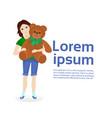 little girl holding big teddy bear isolated on vector image