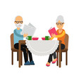 senior couple characters sitting near the table vector image
