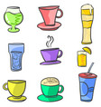 doodle of drink various set vector image