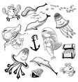 marine set with doodle mermaid vector image