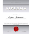 Template certificate design in silver color vector image