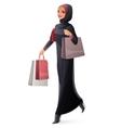 beautiful Muslim woman in hijab walking vector image