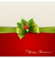 Christmas decoration with holly leaves vector image