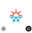 Hot and cold symbol Sun and snowflake all season vector image