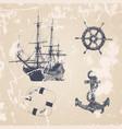 vintage hand drawn ocean set vector image