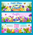 easter egg with flower greeting banner template vector image