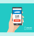 hand holding smartphone with book button and car vector image