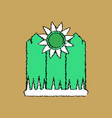 flat shading style icon fence and sunflowers vector image vector image