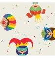 kids wearing different costumes Jewish holiday vector image