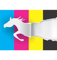 Horse silhouette ripping paper with print colors vector image