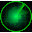 Radar screen with a silhouette of Asia vector image vector image