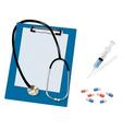 stethoscope and syringe and kapsul shut vector image