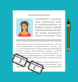 Writing a Business CV Resume vector image