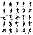Soccer player silhouette set vector image