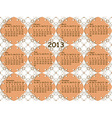 lacy pattern with 2013 calendar vector image vector image