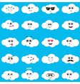white clouds with smiley faces vector image