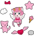 Collection of funny and cute happy kawaii vector image